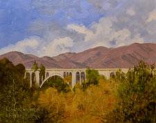 Colorado Street Bridge and Arroyo Seco autumn - Colors of the Arroyo - Pasadena California oil painting