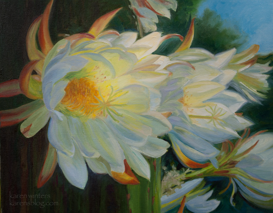 Botanical floral flower paintings by california impressionist karen white cactus flowers cereus peruvianus blooming column cactus oil painting mightylinksfo
