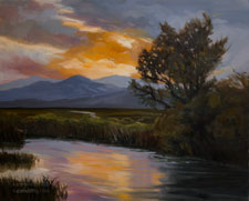 Cottonwoods at Benton Crossing Owens River oil painting Owens Valley, Sierra Nevada