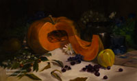 Cut musque de provence fairy tale pumpkin with grapes still life oil painting by Karen Winters
