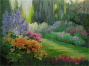 Descanso Gardens Pathway Twilight Roses Rose Garden oil painting