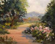 Descanso Rosarium Pathway 8 x 10 oil painting on canvas board