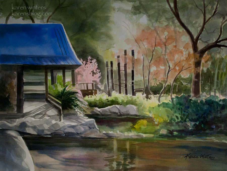 Descanso gardens teahouse watercolor painting california for Japanese watercolor paintings