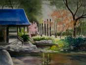 Descanso Gardens Japanese Teahouse watercolor painting