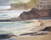 Divers Cove Laguna Beach Heisler Park Oil Painting on Plein Air Panel by Karen Winters