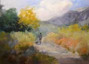Dog walking in Eaton Canyon oil painting