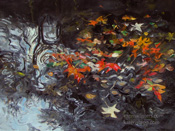 Drifters in the Stream sycamore leaf oil painting by Karen Winters