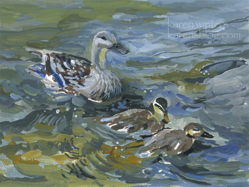Duck and ducklings gouache painting