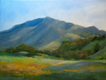 earth rainbow western sierra foothills wildflower plein air oil painting by California impressionist Karen Winters
