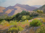 Eaton canyon 6 x 8 inch oil painting with San Gabriel Mountains