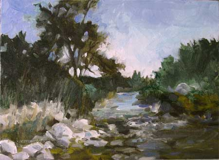 Eaton Canyon Stream - Altadena 9 x 12 oil