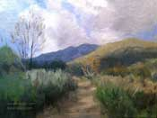 Eaton Canyon Trail Hike oil painting by Karen Winters California impressionist