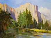 El Capitan Yosemite plein air oil painting by California impressionist Karen Winters, fine artist