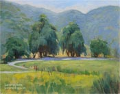 Fallbrook Country Road oil painting eucalyptus trees