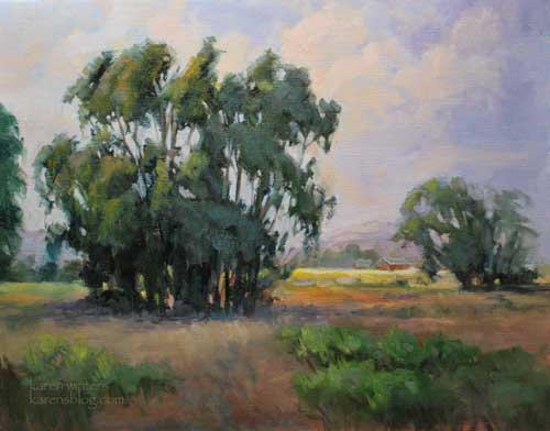 Fields of Peace Oil Painting, Los Osos Valley Road, San Luis Obispo County, California Central Coast, California impressionist landscape art by Karen Winters
