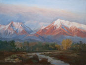 Bishop Mt Tom Basin Mountain alpenglow oil painting 9 x 12 for sale