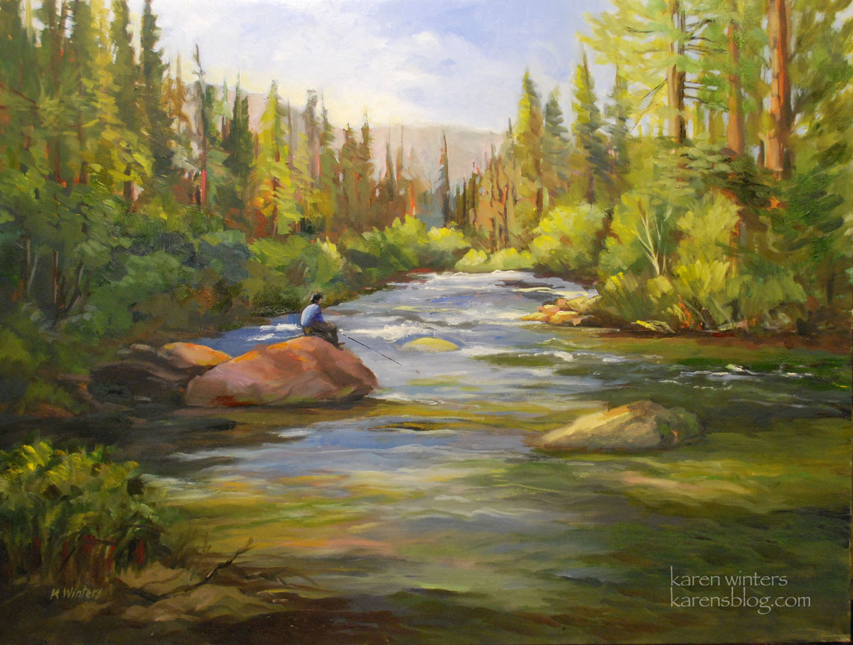 Fishing on the kern california landscape oil painting for Artwork landscapes