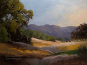 Golden Oak Hillside California oak hills oil painting art for sale