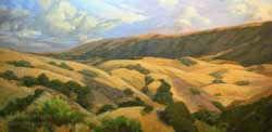 Golden Panorama California oaks rolling hills 15 x 30 inch oil painting on canvas