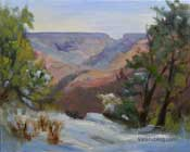 Grand Canyon South Rim Plein Air oil painting Maricopa point Karen Winters plein air painter Arizona landscape painting