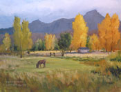Grazing at Lone Pine - Mt Whitney Portal Oil Painting Horse Ranch Oil Painting