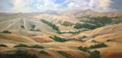 Great Golden Spaces California Rolling Hills Impressionist Landscape Plein Air Style 15 x 30 inches