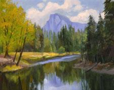 Yosemite Half Dome Sentinel Bridge Autumn Reflections 16 x 20 oil painting