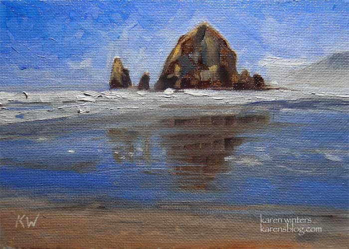 Haystack Rock oil painting