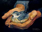 His Eye is on the Sparrow Oil Painting by Karen Winters