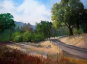 Homeward Bound Paso Robles Central California oak woodland oil painting near Lake Nacimiento Chimney Creek Road summer landscape painting by Karen Winters