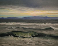 Huntington Beach Surf Stormy Day Oil Painting