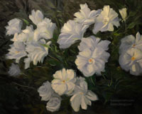 Iceberg white roses in garden oil painting