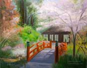 Descanso Gardens Japanese Garden spring oil painting with orange bridge