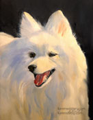 Japanese Spitz Dog pet portrait by Karen Winters