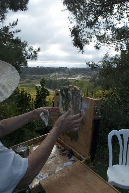 Karen Winters paints at Falkner Vineyard in Temecula, California