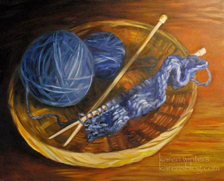 the knitting basket still life oil painting � karen winters
