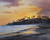 Laguna Beach Main Beach Sunset Seascape Oil Painting - Laguna Art Gallery Art by Karen Winters, California impressionist art for sale