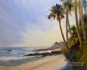 Laguna Shores Palms oil painting Heisler Park