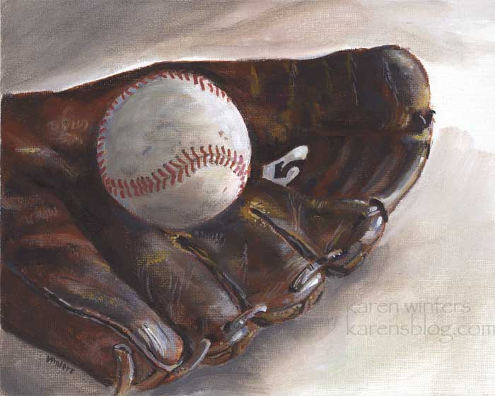 baseball glove and ball still life oil painting