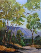 Linda Vista Eucalyptus San Gabriel Mountains Altadena oil painting