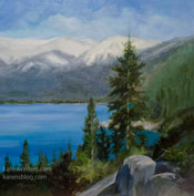 Lake Tahoe pine tree art oil painting