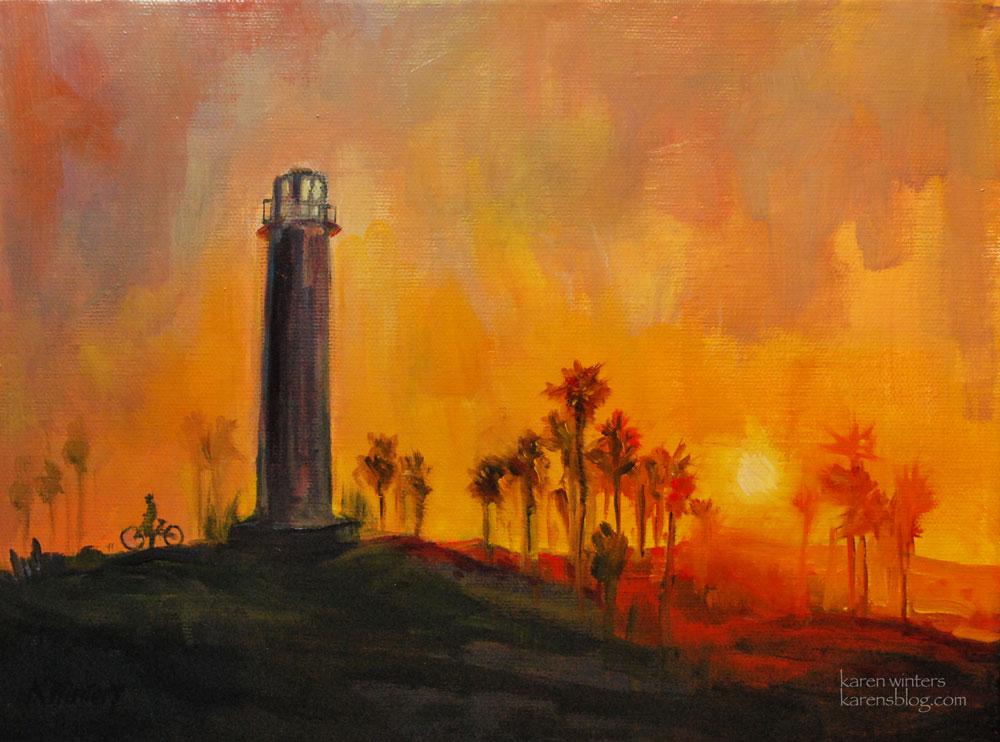 Long Beach Lighthouse Sunset California Impressionist Oil Painting Art Club Show