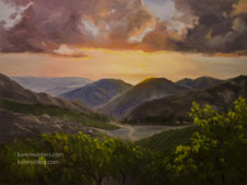 Malibu Vineyard Sunset Wedding Oil Painting Mountains Clouds grapevines California impressionist landscape art
