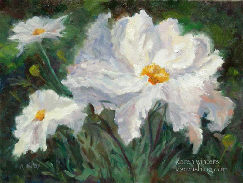 Botanical floral flower paintings by california impressionist karen matilija poppies fried egg plant white flower california native plant oil painting mightylinksfo