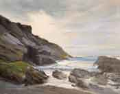 Montana de Oro Oil painting Spooners Cove seascape oil painting - San Luis Obispo beach scene by karen Winters