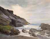 Montana de Oro Oil painting Spooners Cove seascape oil painting - San Luis Obispo beach scene by karen Winters