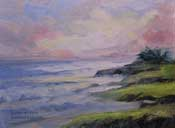 Moonstone Beach Sunset 6 x 8 oil painting plein air study Cambria California Central Coast Art Gallery
