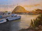 Morro Bay Morro Rock Fishing Boats Harbor oil painting art California Central Coast impressionist oil painting Home for the Day by karen winters