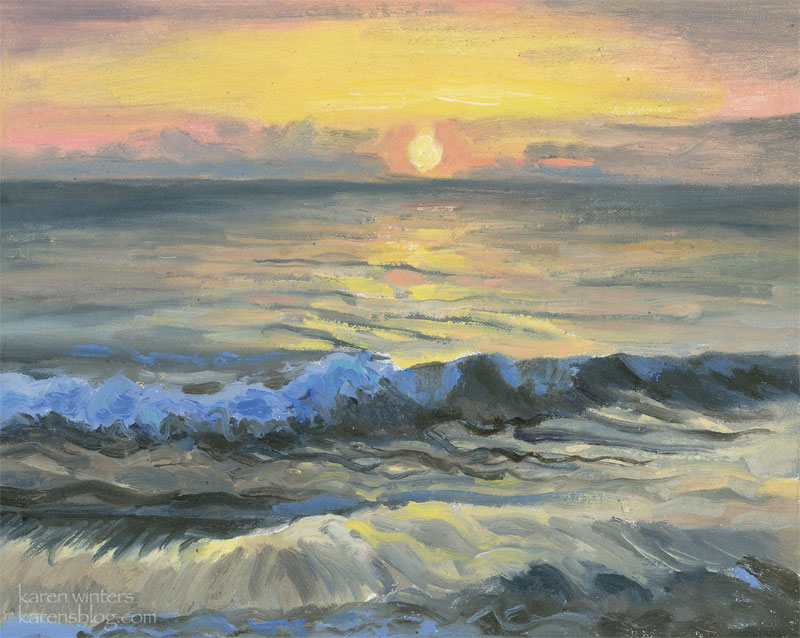 Newport Beach Art Marine Seascape Sunset Surf By Karen Winters