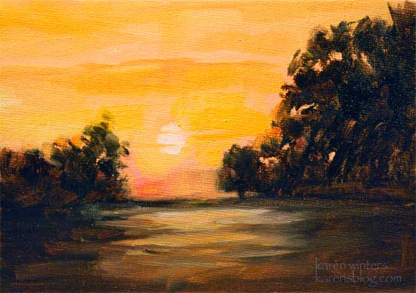 Newport Back Bay Sunset California Landscape Painting
